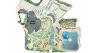 A site plan of the proposed surf park