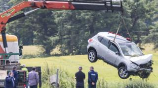 The car was lifted from river