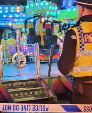 The scene at Hull Fair on Monday evening
