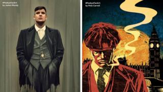 Peaky Blinders fan art by James Mundy (L) and Pete Carroll (R)