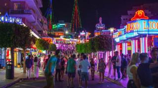 The main strip in Magaluf