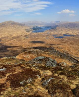 Corrour and Loch Ossian from the slopes of Leum Uilleim (William's Leap)