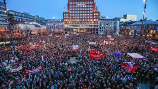Several thousand people gathered in central Oslo to take part in demonstration