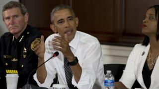 President Obama speaking after meeting activists and police officers