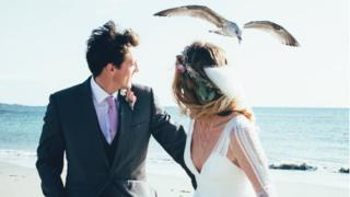 Charlie Watkins and her husband were swooped on by the seagull on their wedding photo shoot at Jersey's St Ouen's Bay in September