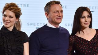 Spectre, staring (l-r) Lea Seydoux, Daniel Craig and Monica Bellucci, was filmed in part at Pinewood Studios