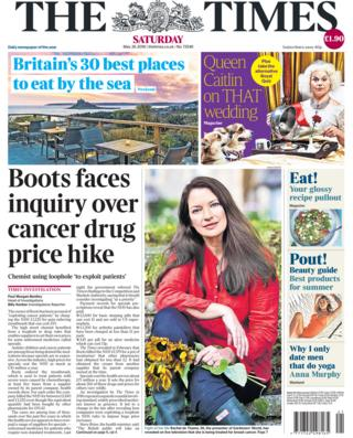 Times Saturday front page