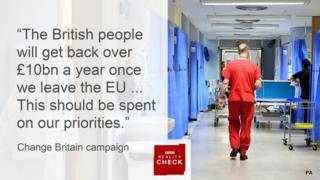 Statement from Change Britain saying: The British people will get back over £10bn a year once we leave the EU... This should be spent on our priorities.""