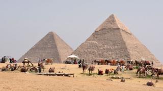 جمال أمام الأهرامات في مصر