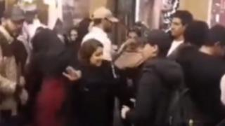 Video purportedly showing men and women dancing at a shopping centre in Mashhad, Iran