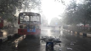 Burnt public bus
