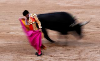 Spanish bullfighter Ruben Pinar performs a pass to a bull.