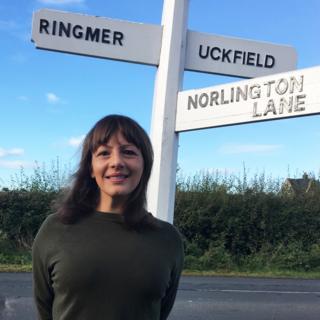 Holly Dawson exploring her village