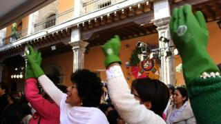 Protesting domestic workers in Mexico. File photo