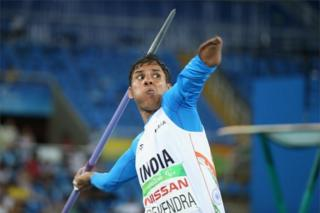 "Devendra of India competes in the Men""s Javelin Throw - F46 Final on day 6 of the Rio 2016 Paralympic Games at the Olympic Stadium on September 13, 2016 in Rio de Janeiro, Brazil."