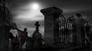 Кладбищенская ограда и темная фигура