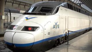 AVE train on a station platform