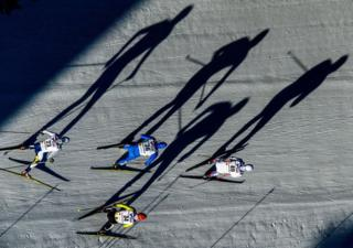 Skiers compete in the Men's Cross Country Mass Start during the FIS Nordic World Ski Championships on 5 March 2017 in Lahti, Finland.