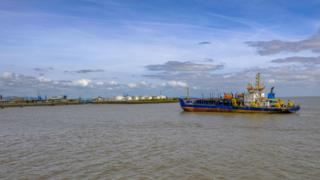 Ship arriving at Cardiff docks