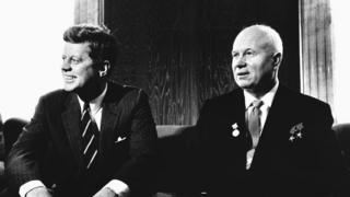 President John F. Kennedy greeting Premier Nikita S. Khrushchev of the Soviet Union at the United States Embassy in Vienna in 1961.