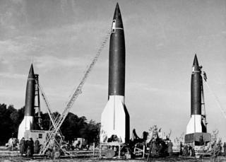 Campo de lanzamiento de cohetes V2 en Alemania.