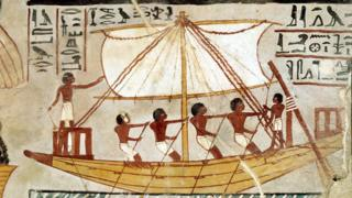 Imagen de un antiguo barco egipcio.