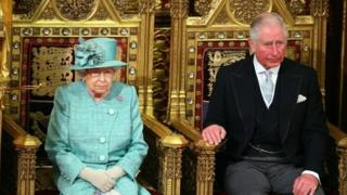 The Queen and the Prince of Wales during Parliament's State Opening