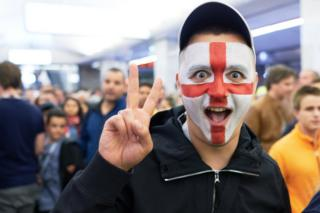 England fan seen at the World Cup in Moscow