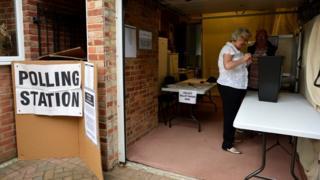 伦敦Croydon一处借用民宅车库的投票站内工作人员准备投票箱(8/6/2017)