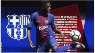 Ousmane Dembele yerekanywe ku kibuga Nou Camp cya Barcelona kuri uyu wa mbere