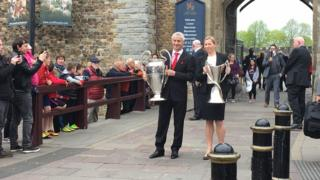 Trophies outside Cardiff Castle