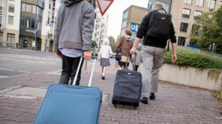 Frankfurt'ta evlerini terk edenler