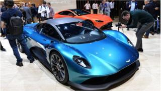 Aston Martin unveils their latest car at the 89th Geneva International Motor in 2019.