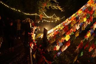 Light show in Edinburgh Botanic Gardens