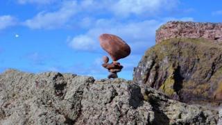 Stone stacking at Dunbar
