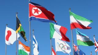 평창 선수촌에 게양된 북한 인공기