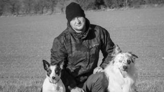 Brad Damms and his border collies Sapphire and Bandit