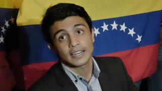 "Student and president of the Venezuelan non-governmental organization ""Operacion Libertad"" (Operation Freedom) Lorent Saleh during a meeting"