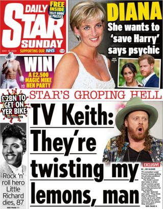 The Daily Star on Sunday front page 10 May