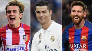 Griezmann, Ronaldo, Messi