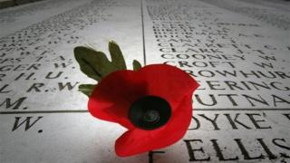 A remembrance poppy at the Menin Gate Memorial, in Ypres, Belguim