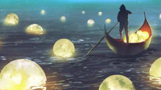 Ilustração mostra homem navegando em meio a lâmpadas