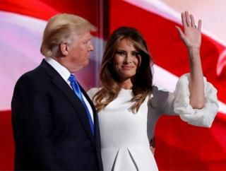 Melania Trump stands with her husband, Republican US presidential candidate Donald Trump, at the Republican National Convention in Cleveland, Ohio, on 18 July, 2016