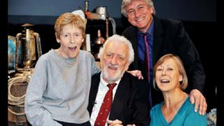 Deddie Davies with fellow cast members of The Railway Children, Bernard Cribbins, Gary Warren and Jenny Agutter