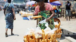 A bread seller at a market in Kinshasa, DR Congo - Saturday 28 March 2020