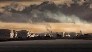 Tata steelworks over the Port Talbot skyline