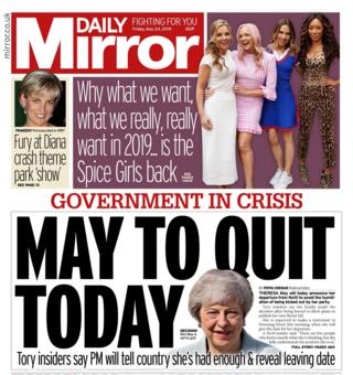 Daily Mirror front page - 24/05/19