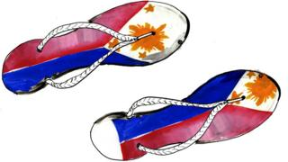 Illustration depicting flip flops with the flag of the Philippines