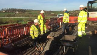 Work on the Superfast Cymru scheme in Llanddowror, Carmarthenshire