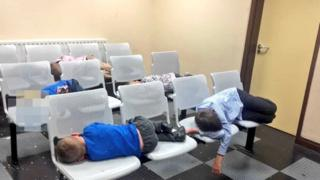 Six children spent the night in a police station.